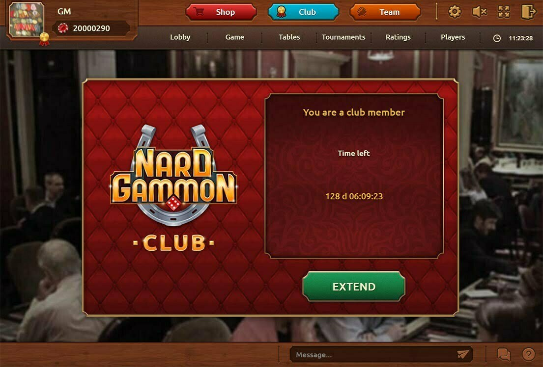 Club of backgamon on portal Nardgammon screen.