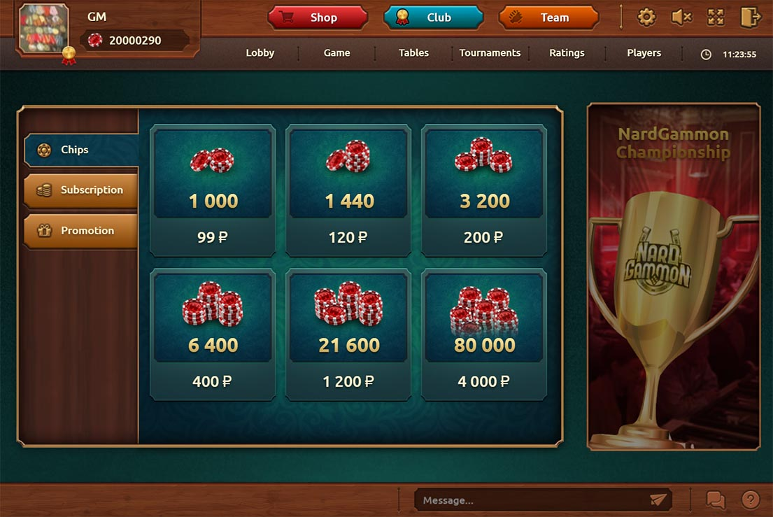 Shop screen. Here you can buy chips for play of backgammon, to get subscribe of club membership and more