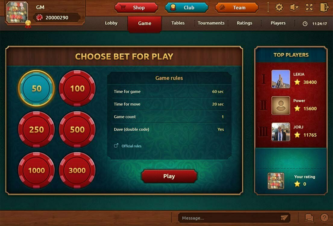 Selection of a suitable match of backgammon. Now you can select several bets for which you want to play. The server will pick you the closest rival.