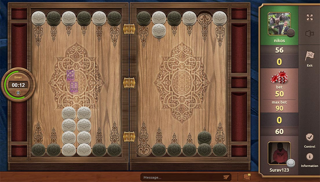 Party of backgammon screen