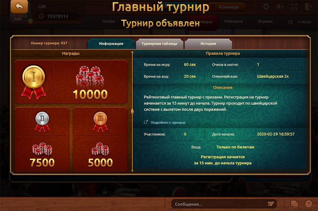 Детальная информация о турнире по нардам.Здесь можно посмотреть описание турнира и параметры партий.